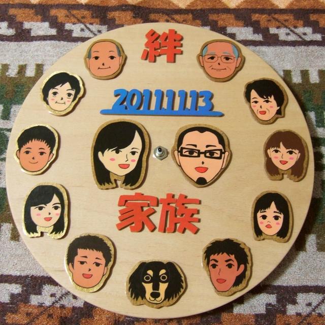 両家親族の似顔絵時計