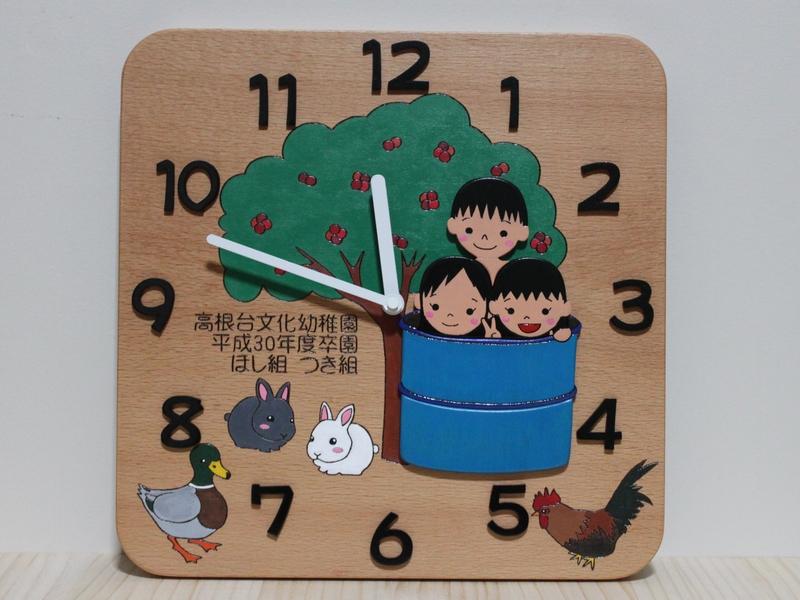 卒園児さんの似顔絵入り記念時計00